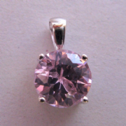 Sterling Silver Four claw 8mm pink Cubic Zirconia solitaire Pendant 1.48g